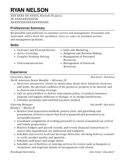 Insurance Agent resume sample Florida
