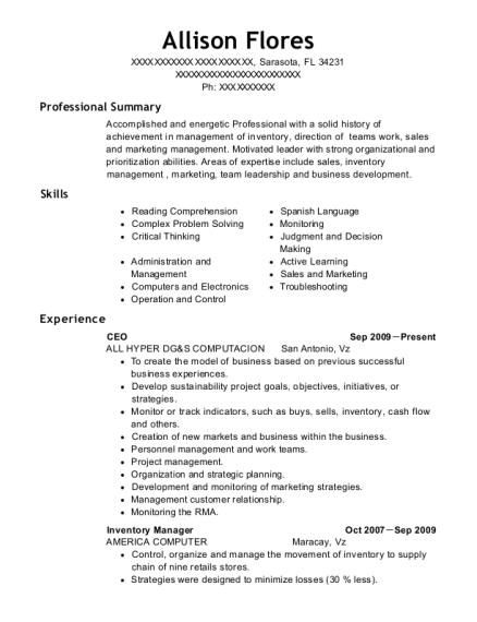 CEO resume template Florida
