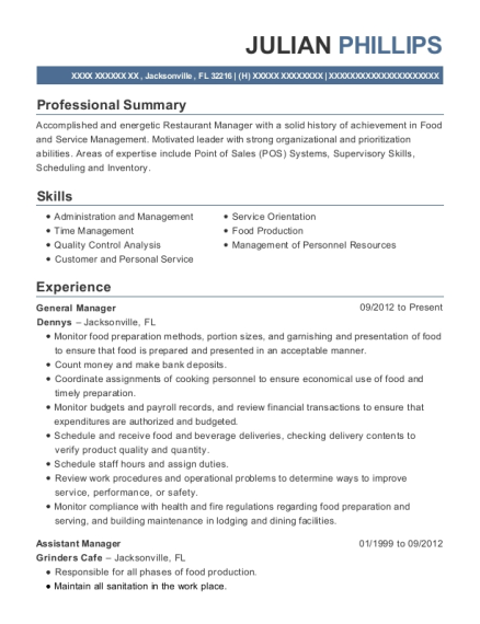 General Manager resume example Florida