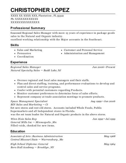 Regional Sales Manager resume example Florida