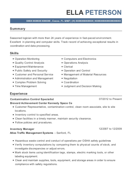 Contamination Control Specialist resume template Florida