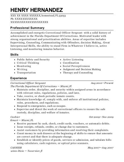 Correctional Officer Sergeant resume sample Florida
