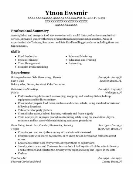 Demostration Lead Person resume example Florida