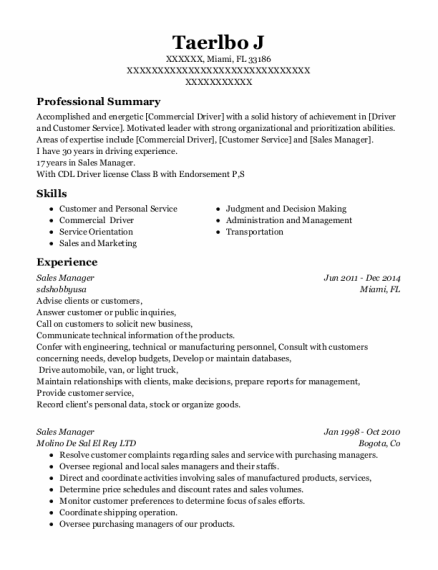 Sales Manager resume example Florida