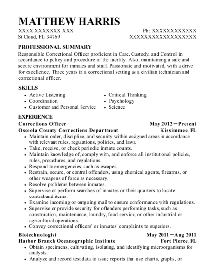 Corrections Officer resume format Florida