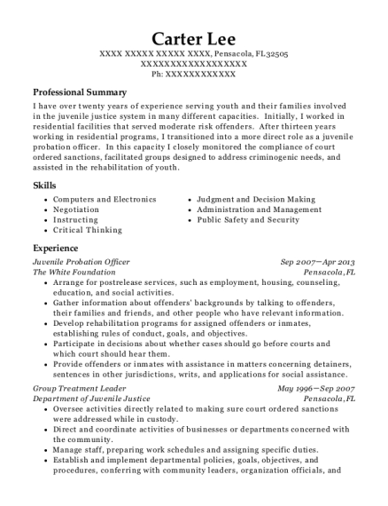 Juvenile Probation Officer resume sample Florida