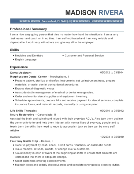 Dental Assistant resume example Florida