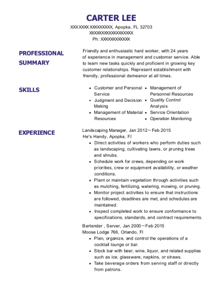 Landscaping Manager resume template Florida