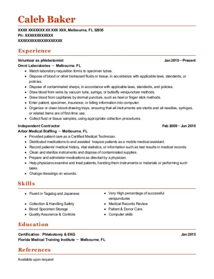 Volunteer as phlebotomist resume format Florida