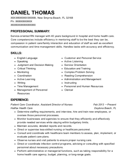 Patient Care Coordinator resume format Florida