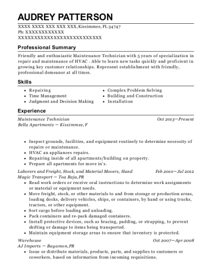 Maintenance Technician resume format Florida