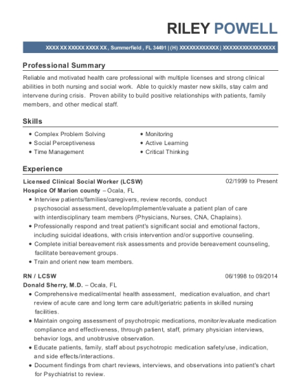 Licensed Clinical Social Worker resume template Florida