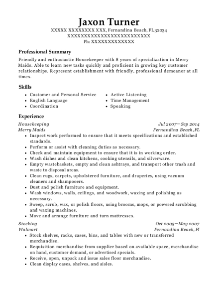 Housekeeping resume format Florida