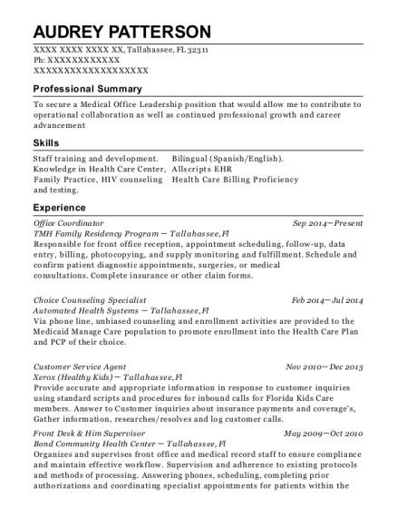 Office Coordinator resume sample Florida