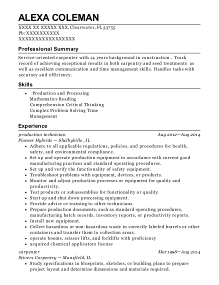 Production Technician resume example Florida
