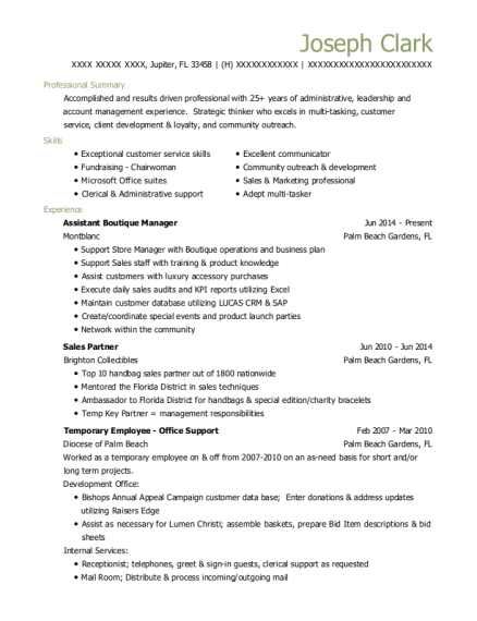 Assistant Boutique Manager resume template Florida