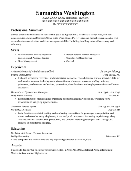 Aviation Mechanic resume example Florida