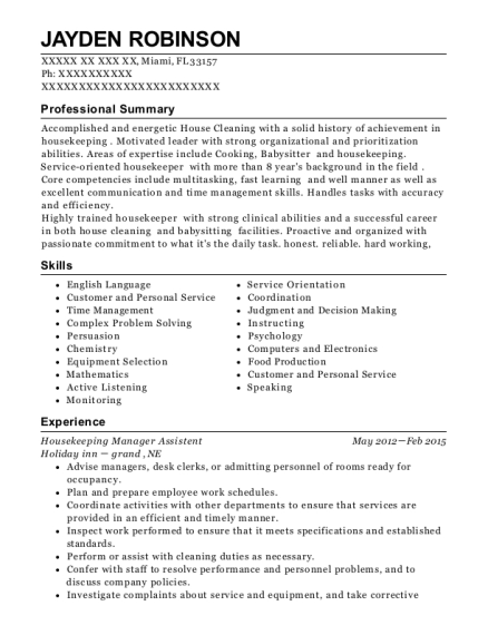 Housekeeping Manager Assistent resume sample Florida