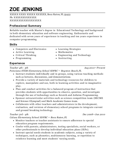 Teacher 4th 5th resume format Florida