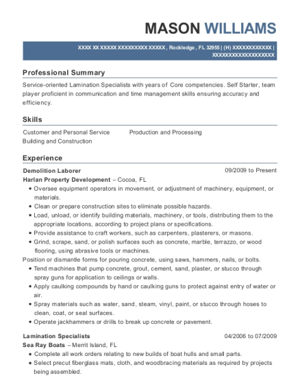 Demolition Laborer resume template Florida