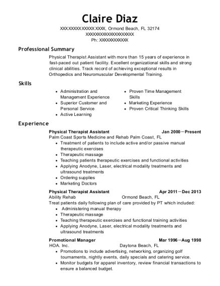 Physical Therapist Assistant resume template Florida
