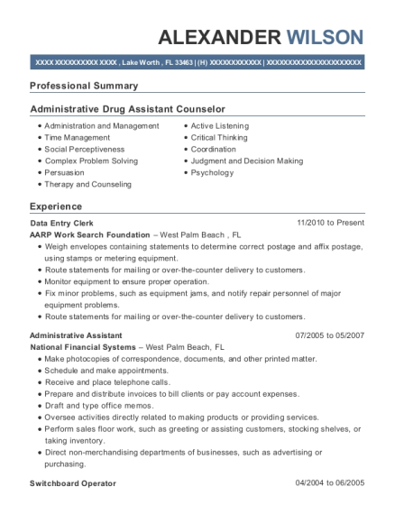 Data Entry Clerk resume format Florida
