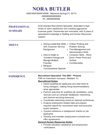 Recruitment Specialist resume sample Florida