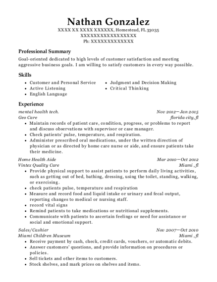 mental health tech resume format Florida