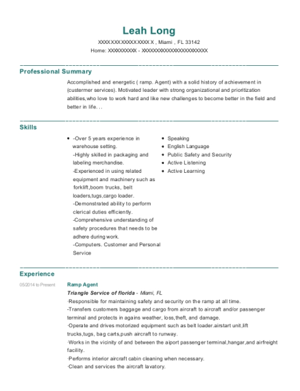 Ramp Agent resume format Florida