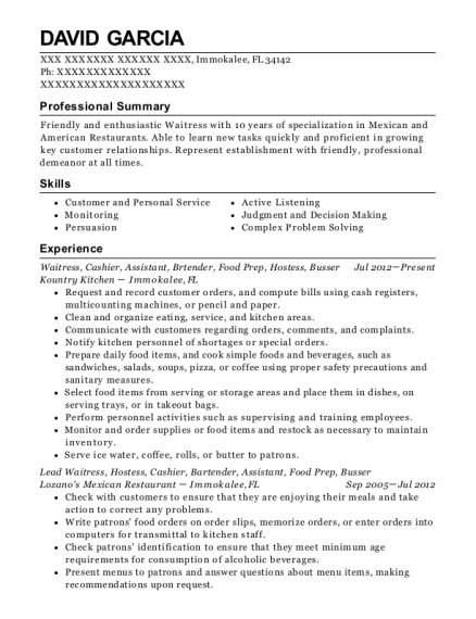 Waitress resume example Florida