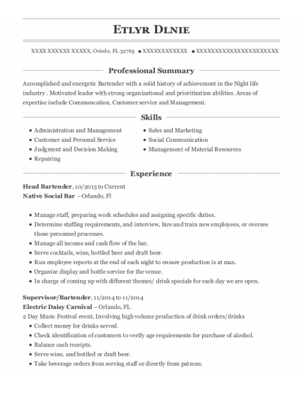 Head Bartender resume example Florida