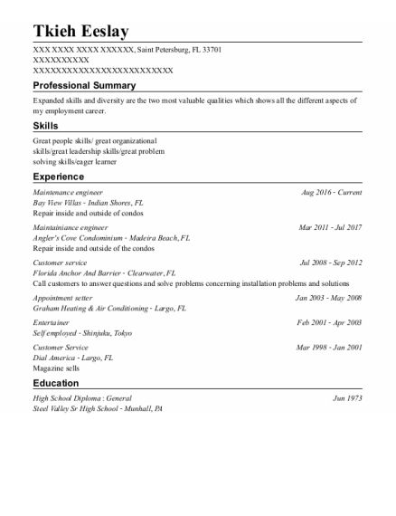 Maintenance Engineer resume format Florida