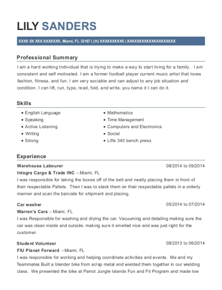 Warehouse Labourer resume example Florida
