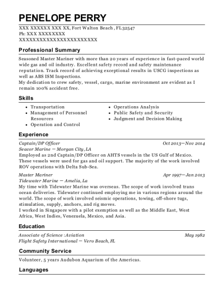 Captain resume sample Florida