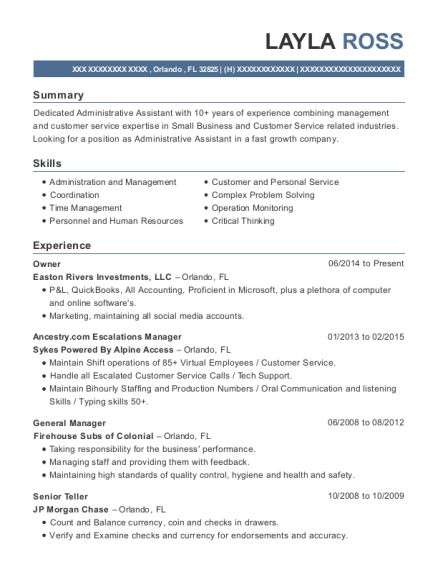 Owner resume format Florida