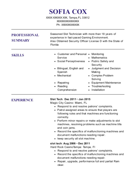 Slot Tech resume template Florida