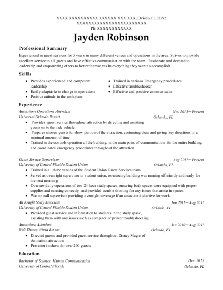 Attractions Operations Attendant resume template Florida