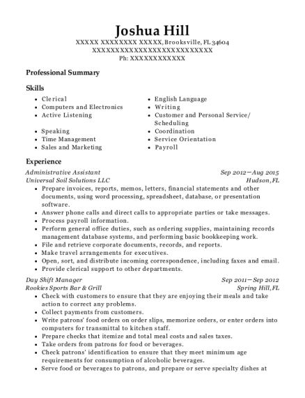 Administrative Assistant resume format Florida