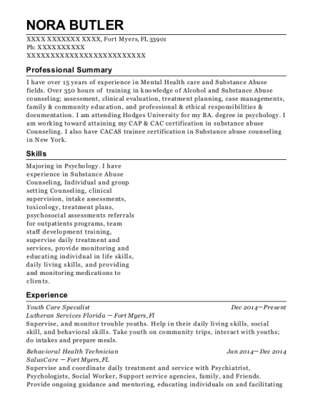 Youth Care Specalist resume sample Florida
