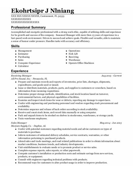 Receiving Manager resume format Florida