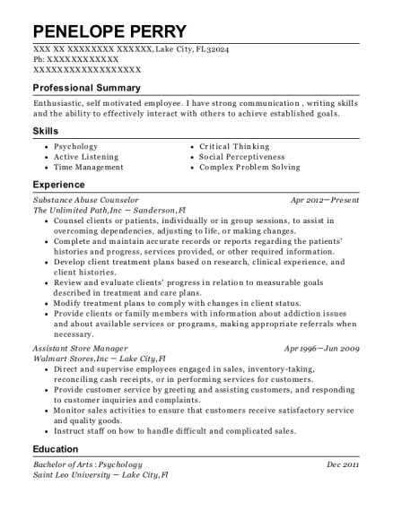 Substance Abuse Counselor resume template Florida