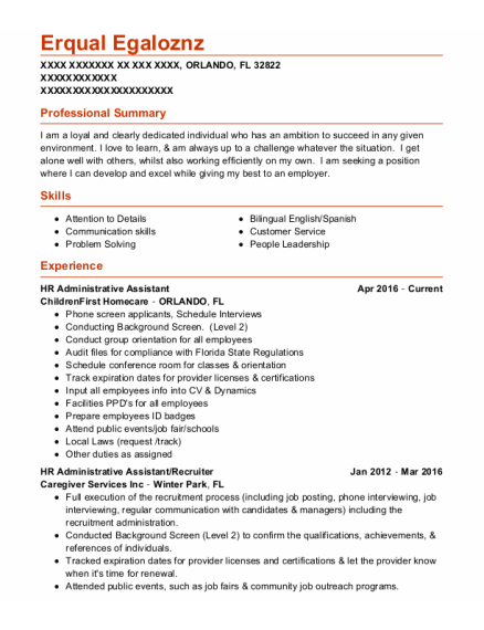 Hr Administrative Assistant resume example Florida