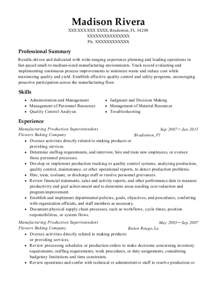 Manufacturing Production Superintendent resume sample Florida