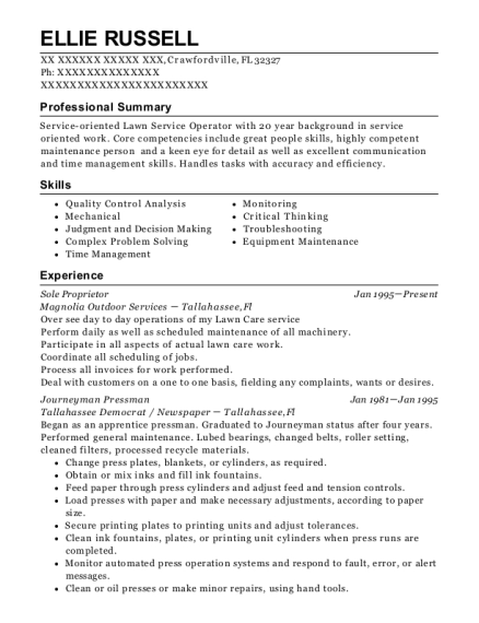 Sole Proprietor resume example Florida
