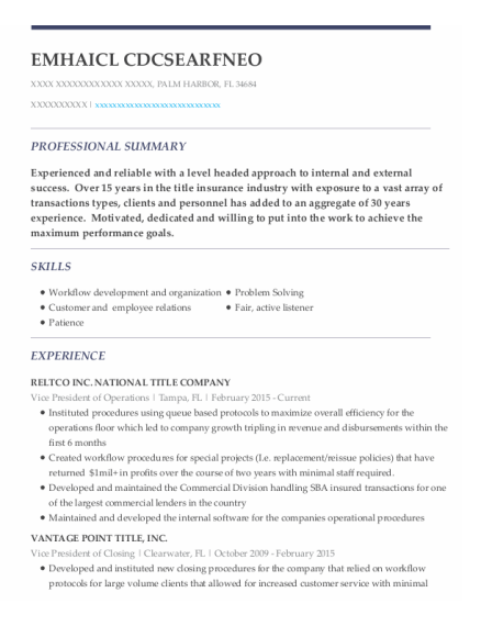 Vice President Of Operations resume format Florida