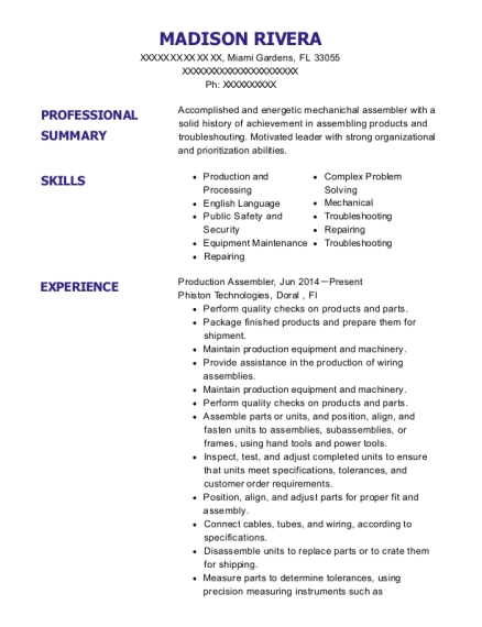 Production Assembler resume template Florida