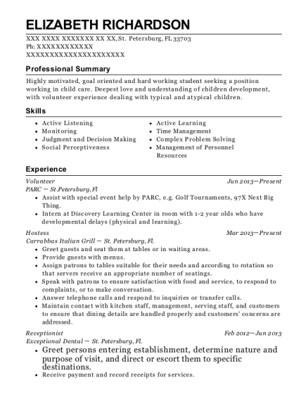Volunteer resume template Florida