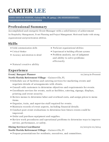 Event resume example Florida