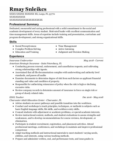 Insurance Underwriter resume example Florida
