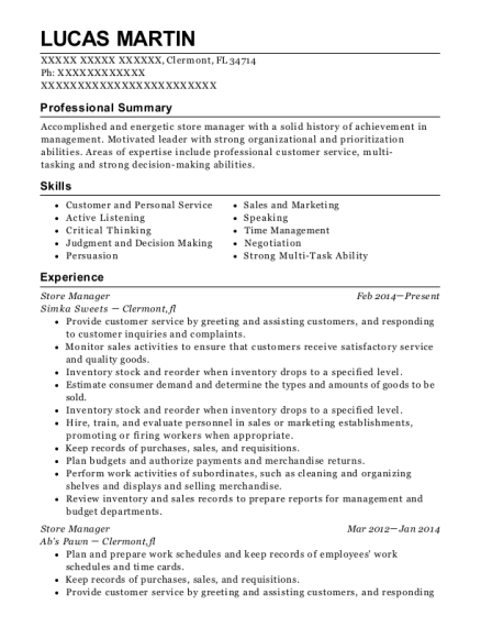 Store Manager resume template Florida